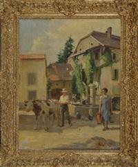 am städtischen brunnen treffen ein hirte mit rind und drei frauen mit wasserkrügen zusammen by henri victor lesur