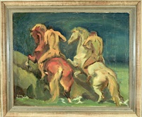 zwei nackte reiter treiben ihre pferde bergauf by franz reinhardt the elder