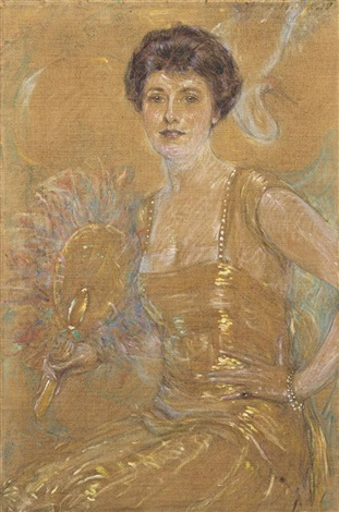 lady with fan by robert reid