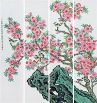 水点桃花 (porcelain plaques) (in 4 parts) by xu yafeng