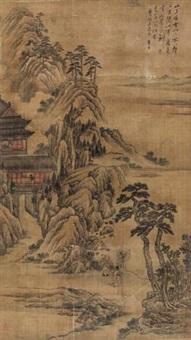 山中楼阁图 (landscape) by tu zhuo
