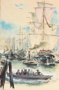 segelschiffe im hafen by hans liska
