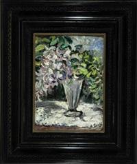 stilleben mit glyzinien in einer glasvase by archimede santi