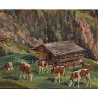 weidende kühe auf der alp by hans gartmeier