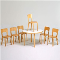 dining set: six chairs and table by alvar aalto