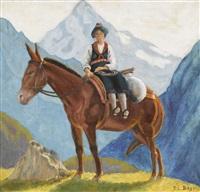 trachtenfrau auf einem esel by paul-léon bleger