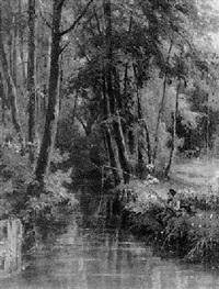 angler am waldbach by joseph watter
