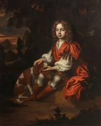 a portrait of a boy, full-length, seated in a woodland, his dog by his side by charles d' agar