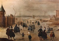 elegant skaters on a frozen river by a fortified castle, at dusk by adam van breen