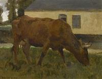 grasende kuh by julien dupré