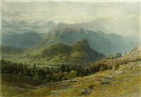 an extensive mountainous landscape with figures on a track in the foreground by henry anelay