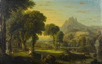 a classical landscape with figures in the foreground and a temple in the distance by george barret