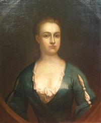 portrait of a lady in a painted cartouche (mrs. clark?) by john smibert