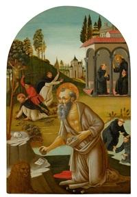 der büssende hieronymus in einer landschaft mit szenen des heiligen benedikt, maurus und petrus märtyrer by anonymous-italian (15)