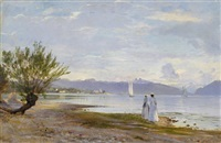promeneuses sur la plage de vidy avec vue au loin sur le château d'ouchy by auguste bachelin