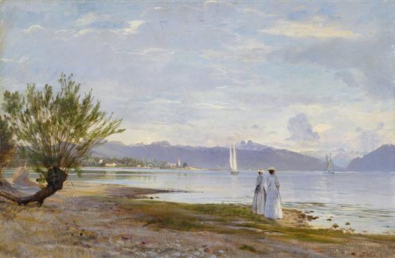 promeneuses sur la plage de vidy avec vue au loin sur le château douchy by auguste bachelin
