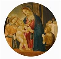 tondo mit maria, dem christusknaben und johannes dem täufer in belgeitung von einem engel by jacopo del sellaio