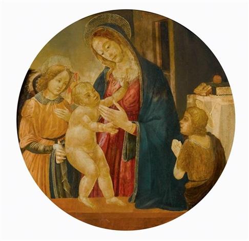 tondo mit maria dem christusknaben und johannes dem täufer in belgeitung von einem engel by jacopo del sellaio