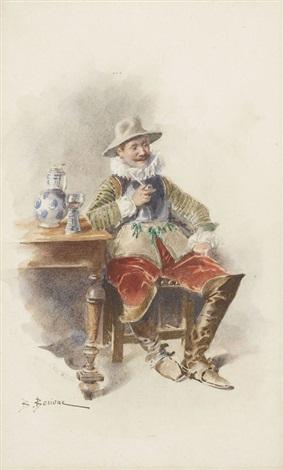 musketier mit pfeife by bernard louis borione