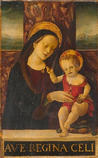 thronende maria mit dem kind vor einer landschaft by giovanni bellini