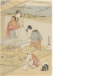 untitled, a domestic scene of weaving, a child playing with puppies in the foreground by utagawa toyokuni (toyokuni i)