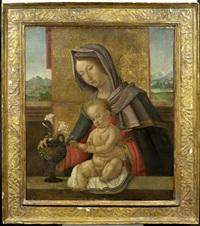 madonna mit kind vor einer landschaft by giovanni paolo de agostini