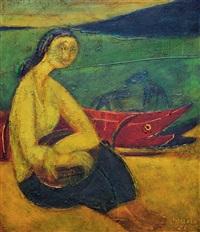 wanita dan jukung nelayan (woman and fishing boats) by made djirna