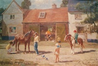 stable with blacksmith and children by harry freckleton