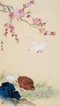 桃花双鸽 by ma jin