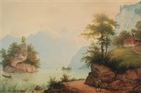 le lac de lauwerz avec l'ile de schwanau by konrad corradi