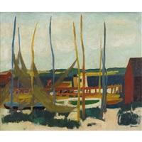 hafenpartie mit segelbooten (+ stillleben, verso) by jacques f. fuchs