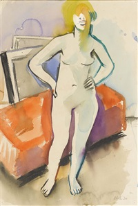 weiblicher akt im atelier by theo eble