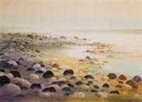 湖边(水彩) by lin xingyue