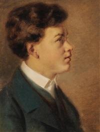 profilportrait eines knaben mit dunkelbraunem haar by georg anton gangyner