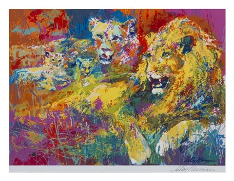 lion and lioness by leroy neiman