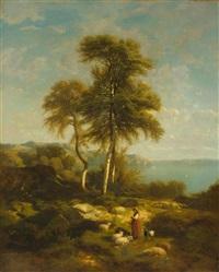 hirtin mit tieren vor einer weiten seelandschaft by eugène verboeckhoven & alexandre calame