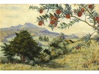 an extensive landscape with a branch of red berries in the foreground by margaret winifred tarrant