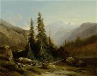 alp mit wettertannen, wohl im berner oberland by alexandre calame