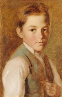 portrait eines knaben in grauer weste by georg anton gangyner