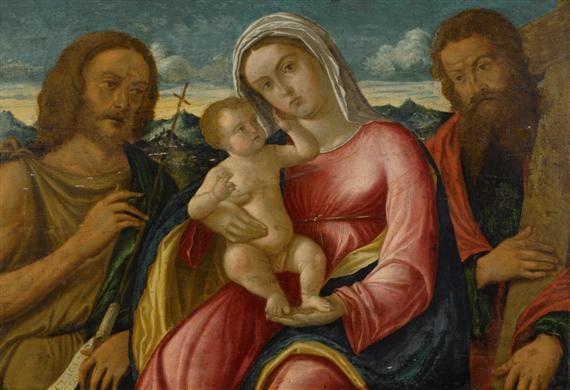 maria mit jesusknaben johannes dem täufer und heiliger andreas by giovanni bellini