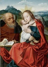 heilige familie vor einer weiten landschaft by master of the mansi magdalene