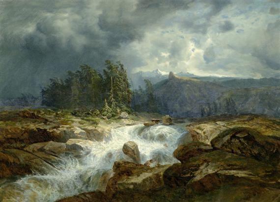 torrent de montagne par orage by alexandre calame