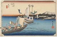 four oban yoko-e; from the series tokaido gojusantsugi no uchi (fifty-three stations of the tokaido road) (4 works) by ando hiroshige