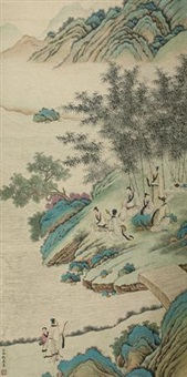 竹林七贤 (seven gentlemen in a bamboo forest) by leng mei
