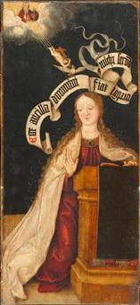 verkündigungsszene (+ heiliger vitus/veit mit palmzweig und hahn, verso) by jan (the master of cappenberg) bagaert