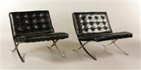 barcelona chairs (pair) by ludwig mies van der rohe