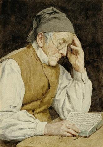 lesender mann by albert anker