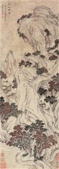 秋山晚翠 (landscape) by dai yixiao