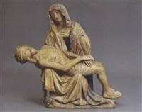 die auf einer thronbank sitzende mutter hält den leichnam christi auf dem schoss by austrian school (14)