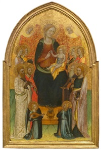 the madonna enthroned, with the child, surrounded by saints and angels by lippo d'andrea (ambrogio di baldese)